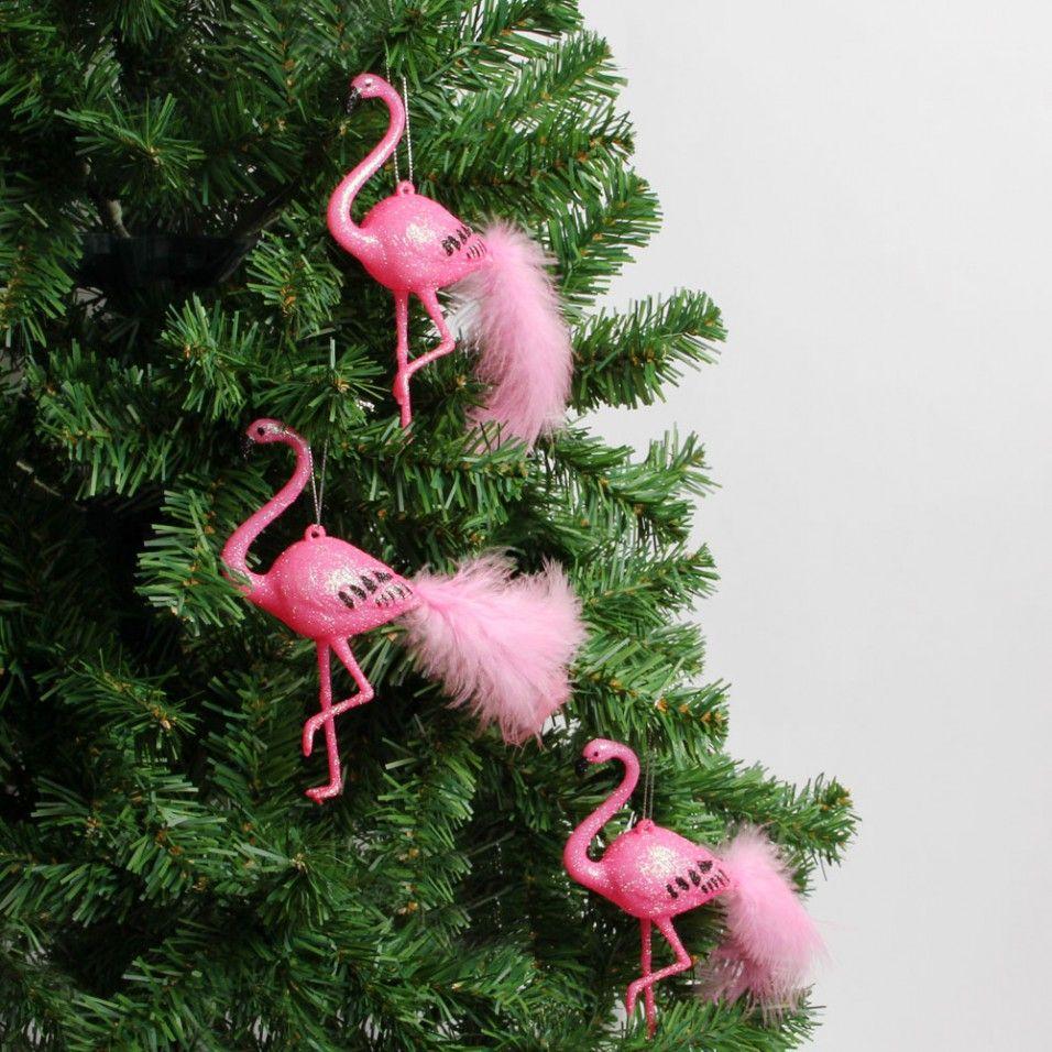 Pink flamingo Christmas decorations box of 3 Christmas