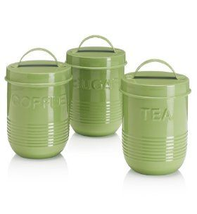 Retro green enamel tea coffee and sugar jars from Marks and Spencer