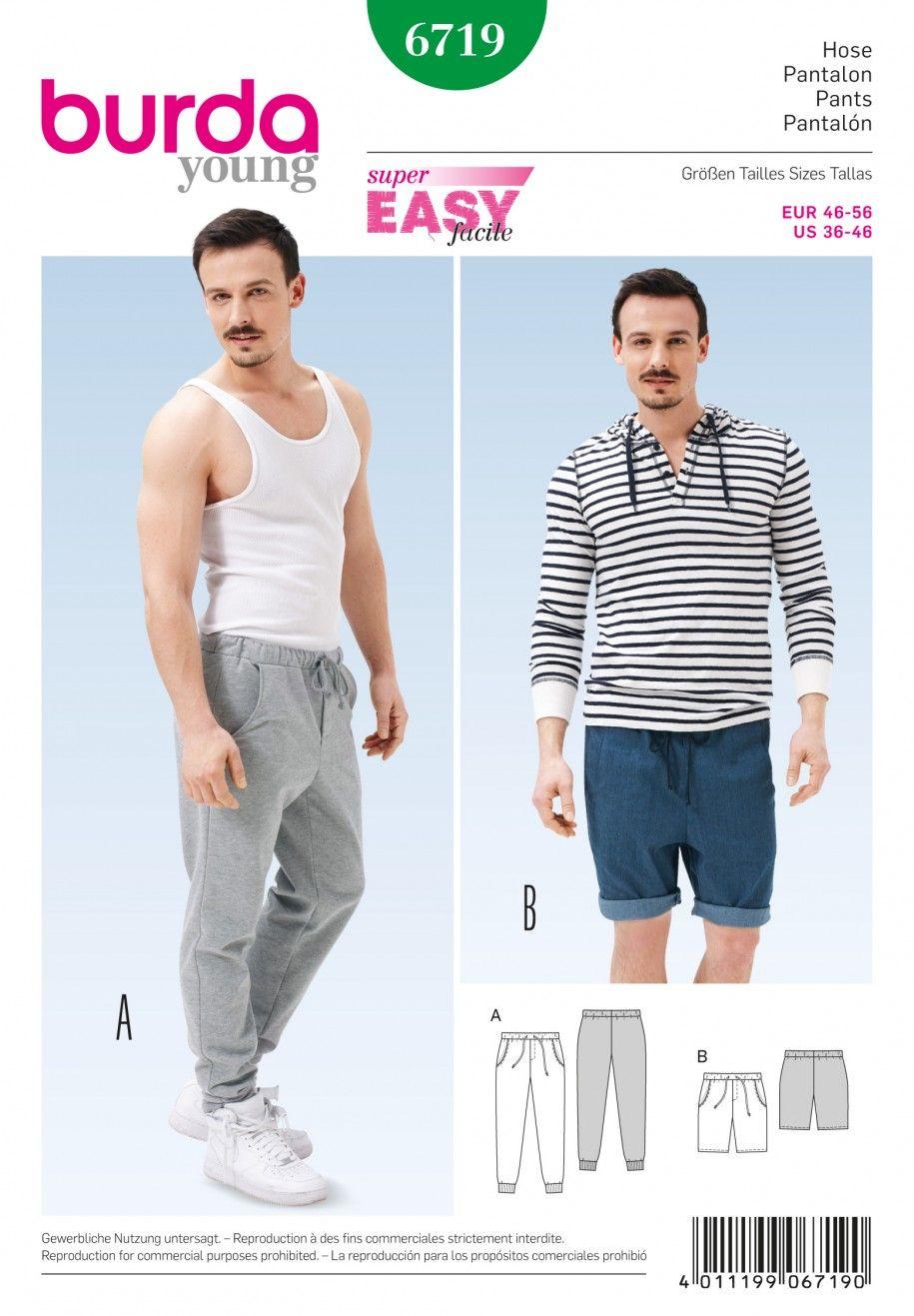 Burda B6719 Men\'s Jogging Pants Sewing Pattern   Burda   Pinterest