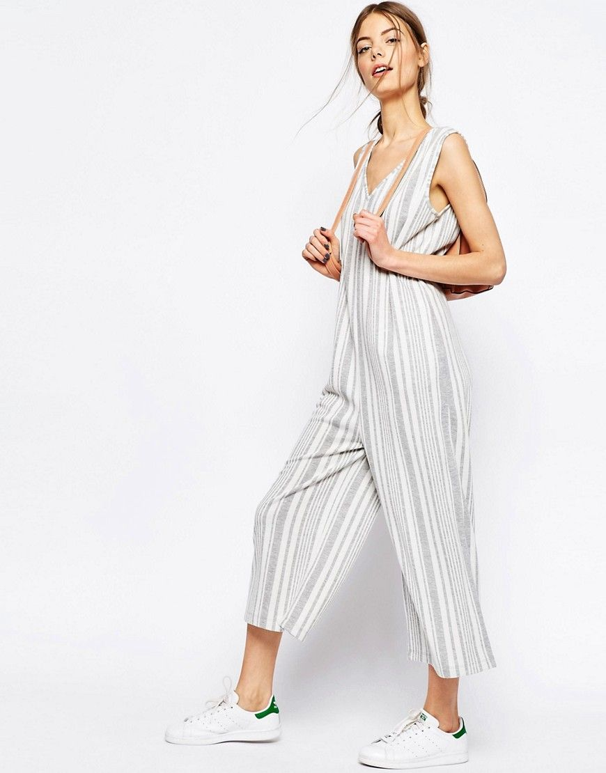 Fashion · Image 4 of ASOS Petite Jersey Jumpsuit with Wide Leg in Variegated  Stripe