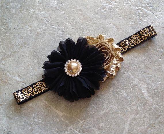 Black gold headband newborn headband baby by BabyLiloHairBoutique