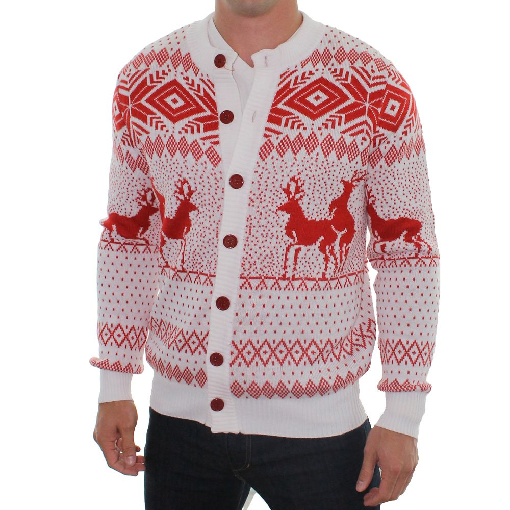 mens reindeer double date cardigan white