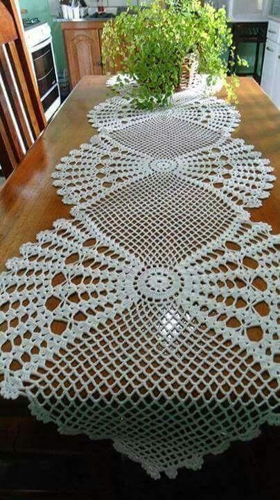 Camino para mesa tejido proyectos pinterest caminos mesas y tapetes - Manteles mesas grandes ...