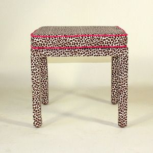 pink piped leopard stool
