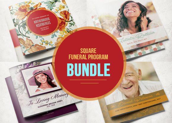 square funeral program bundle creativework247 brochure design
