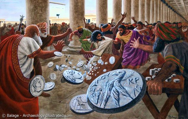 Jesus Tipping Over The Money Changers Tables Painting