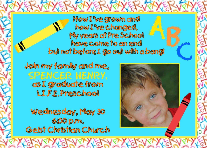 Preschool Graduation Invitations Templates Reading Pinterest - Pre k graduation invitations templates