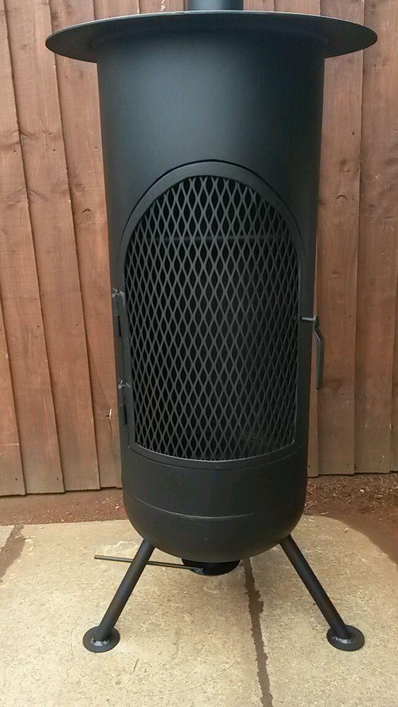 Extra large gas bottle log burner/ chimnea/ firepit | Log ...