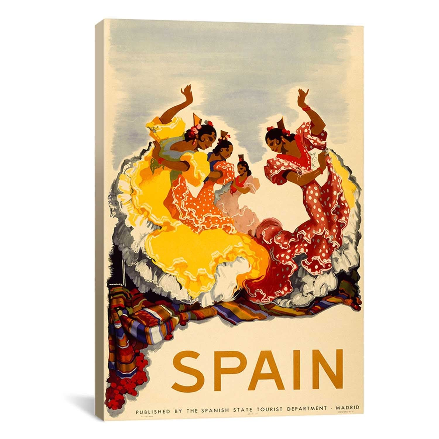 iCanvas Spain - Women Dancing Advertising Vintage Poster Canvas ...