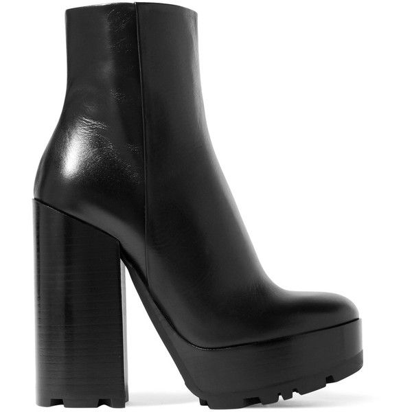 Jil Sander Leather platform ankle boots (7.275 NOK) ❤ liked on Polyvore featuring shoes, boots, ankle booties, short black boots, black bootie, high heel ankle boots, black platform boots and platform ankle boots