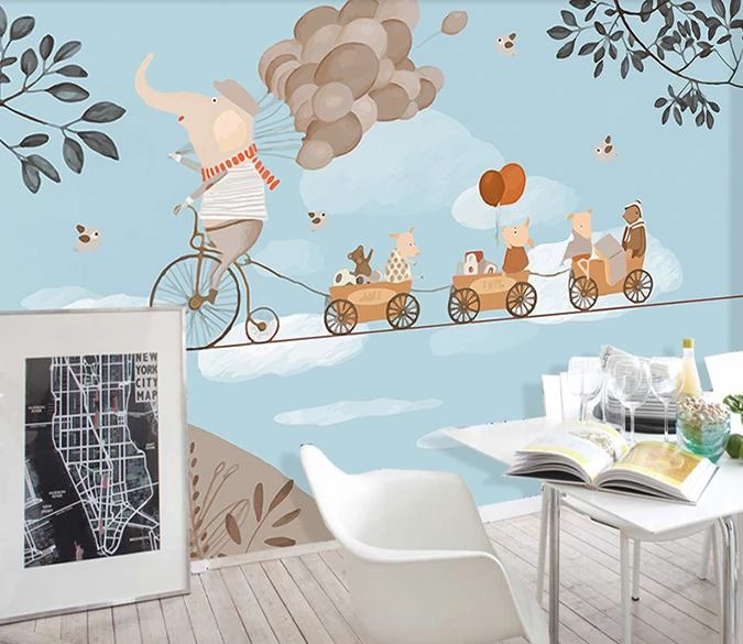 3D Elephant Riding A Bicycle 81 Wall Murals