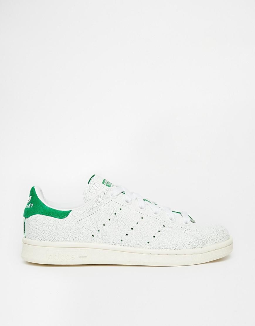 Shop adidas Originals White & Green Stan Smith Cracked Leather Trainers at  ASOS.