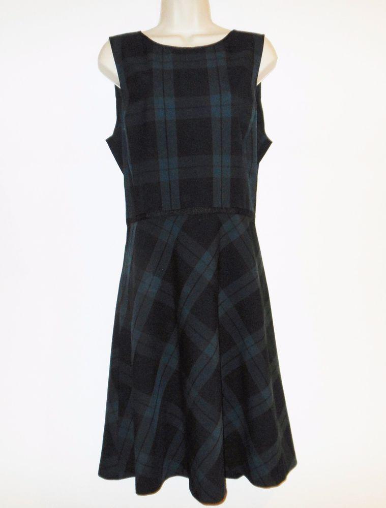 8cffaef4467 Ann Taylor LOFT 14 L Dress Black Watch Plaid Fit Flare Jumper Green Black  Blue  AnnTaylorLOFT  JumperFitFlare  Casual