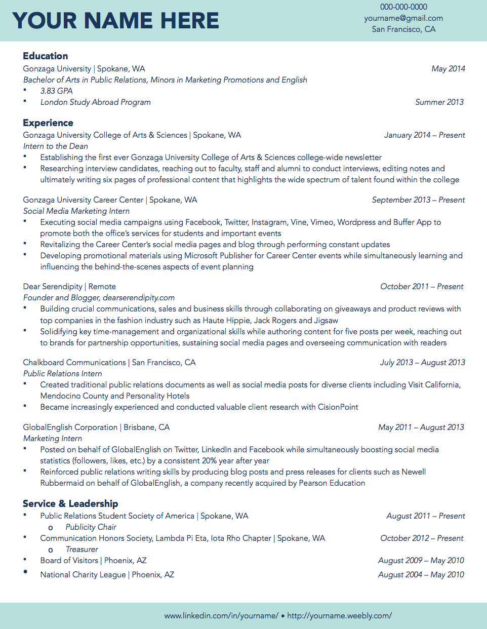 Gonzaga University Sample Student Résumé | Résumé Samples ...