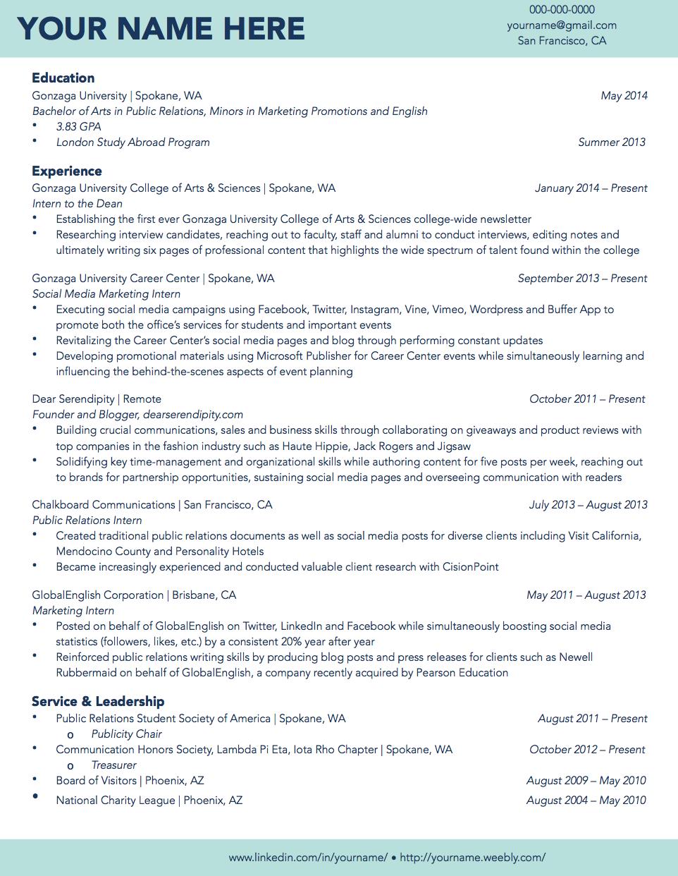 Gonzaga University Sample Student Résumé Student resume