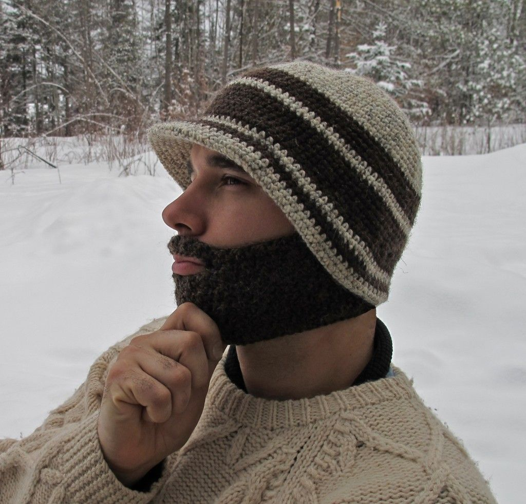 Brimmed Beanie with Detachable Beard - I *love* the hat part of the ...