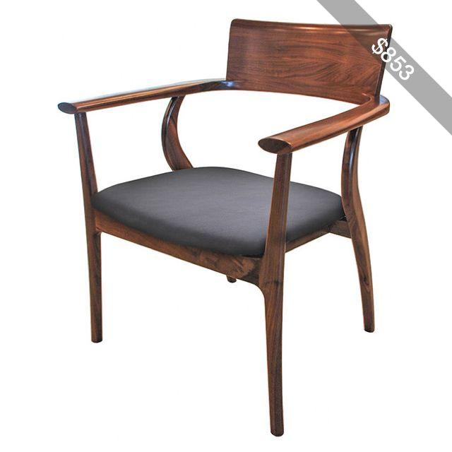 Cool Alfie Mid Century Modern Walnut Black Leather Dining Arm Creativecarmelina Interior Chair Design Creativecarmelinacom