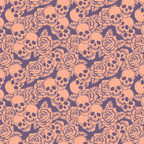 Boysenberry Skulls Small fabric by sugarxvice on Spoonflower - custom fabric