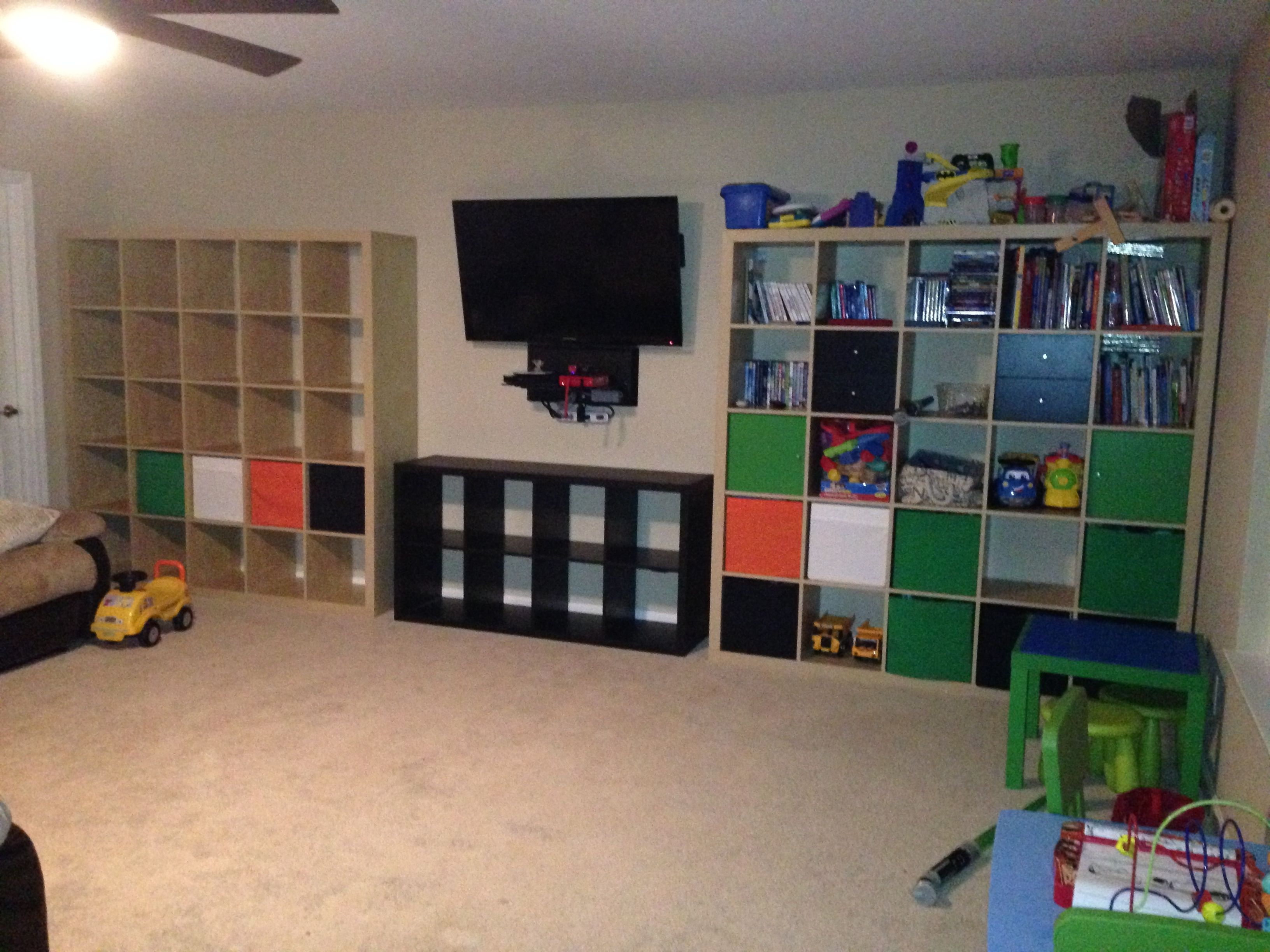 Finished the wall of toybox in the playroom composed of for Ikea expedit wall shelf