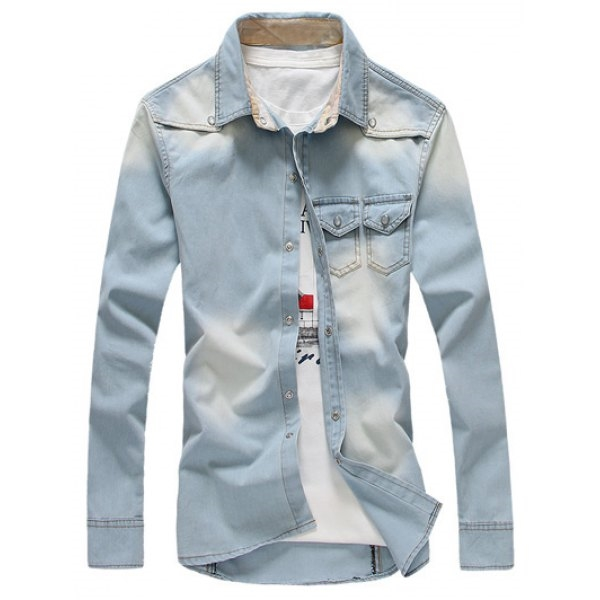17.46$  Buy now - http://di8vq.justgood.pw/go.php?t=198115703 - Snap Button Up Breast Pocket Denim Shirt 17.46$