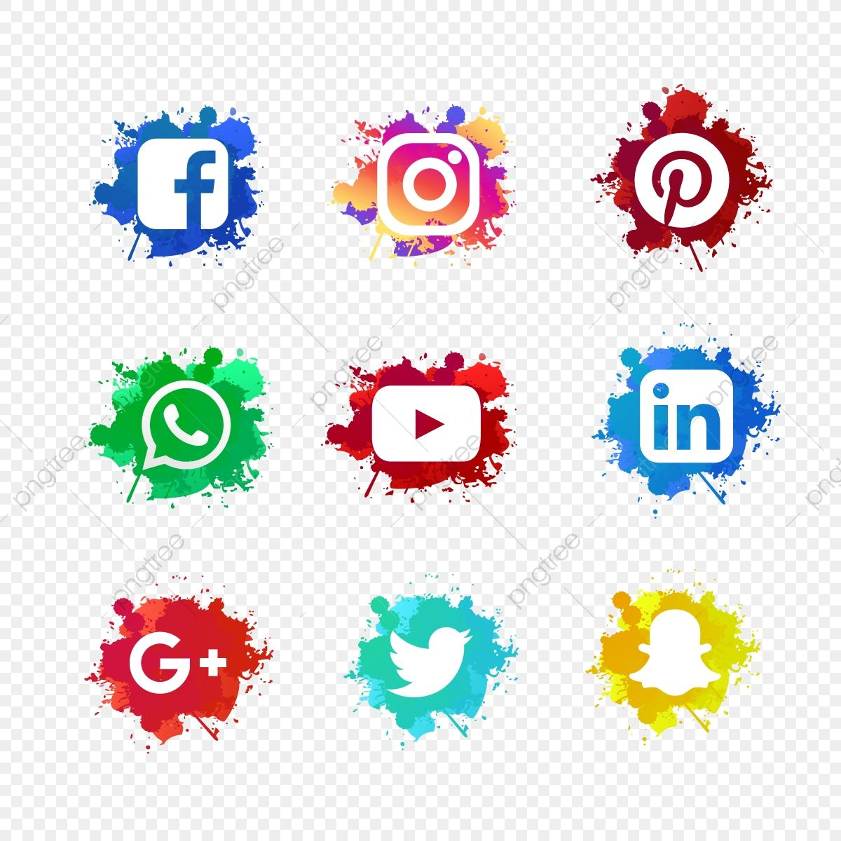 Social Media Set With Ink Splashed Ink Abstract Watercolor Png And Vector With Transparent Background For Free Download Facebook And Instagram Logo Social Media Icons Vector Business Card Icons