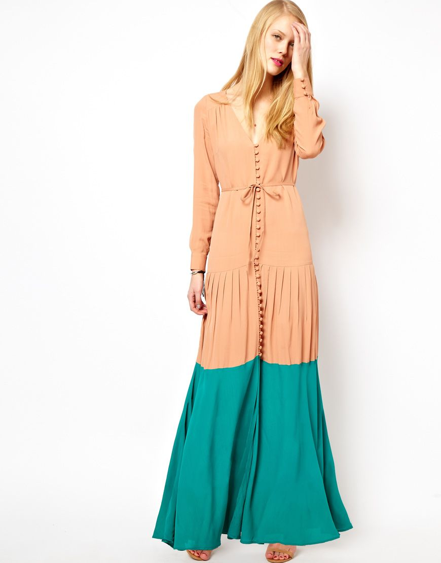 Maxi robe longue manche longue chemises pinterest color