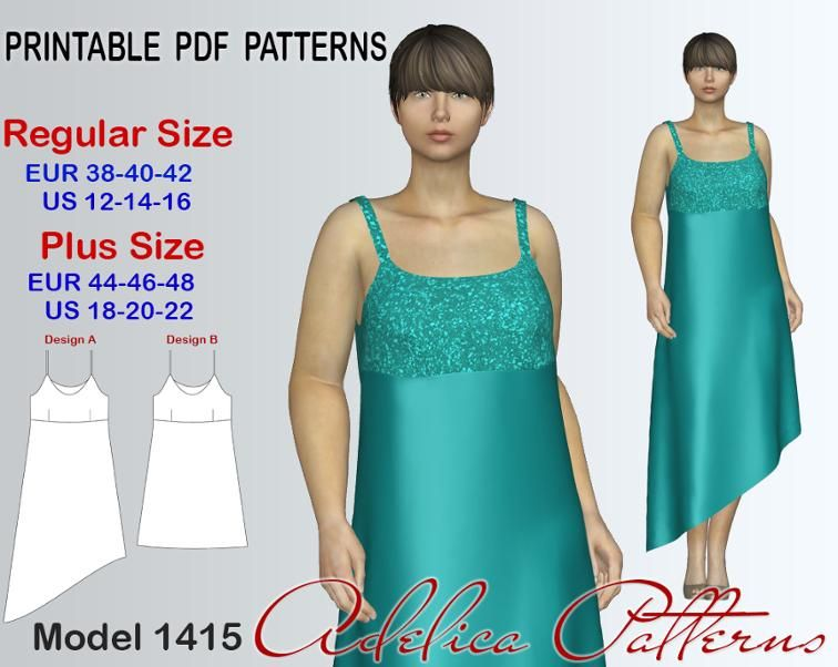 Asymmetric Evening Dress For Sizes 12 22 Sewing Patterns Pdf And