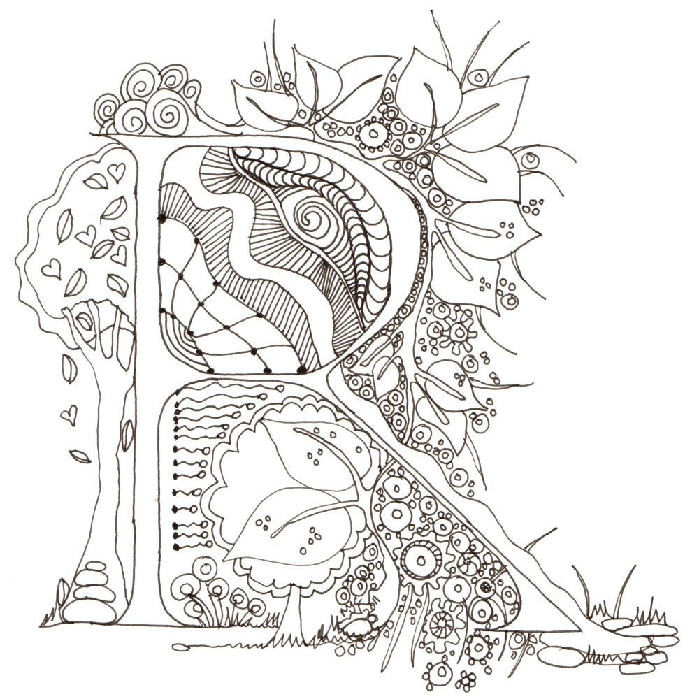 Coloring Pages Illuminated Letters Coloring Pages a beautiful collection of illuminated letters free from the monogram initial colour me in r original art