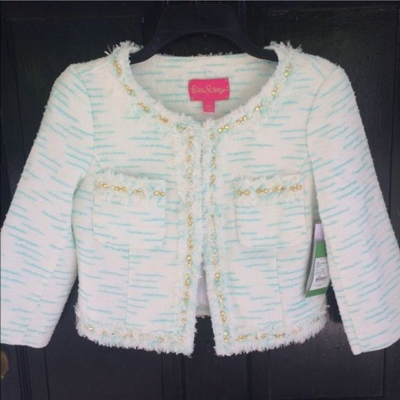 NWT Lilly Pulitzer Lia Jacket AMAZING! ❤️ S XS BRAND NEW - Ivory Aqua with Gold and Pearl Detailing. Beautiful Boucle. Beautifully lined. Lilly Pulitzer Jackets & Coats Blazers