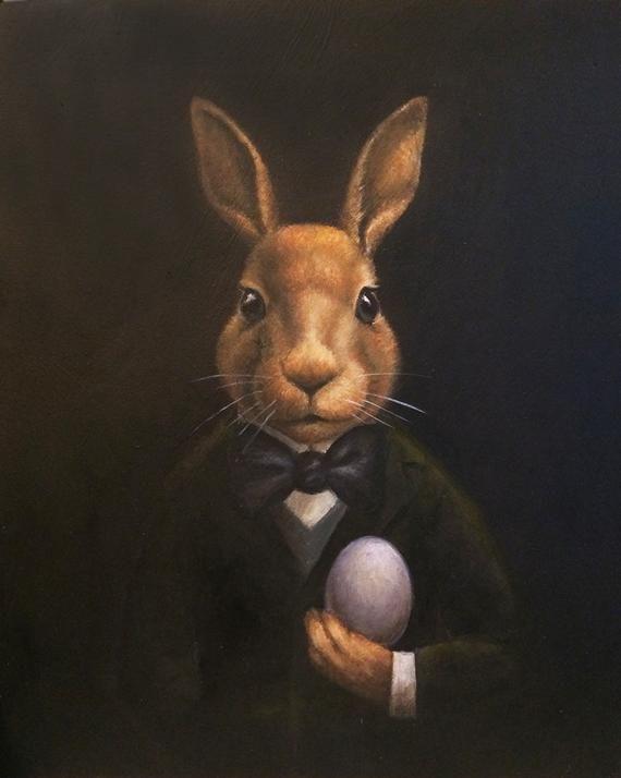 Kaninchen Portrait Druck - Edwardian Butler - anthropomorph - Downton Abbey Kaninchen - Hase