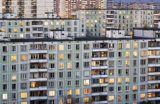 The Soviet Government Built Plain High Rise Apartment Buildings Throughout Cities Including
