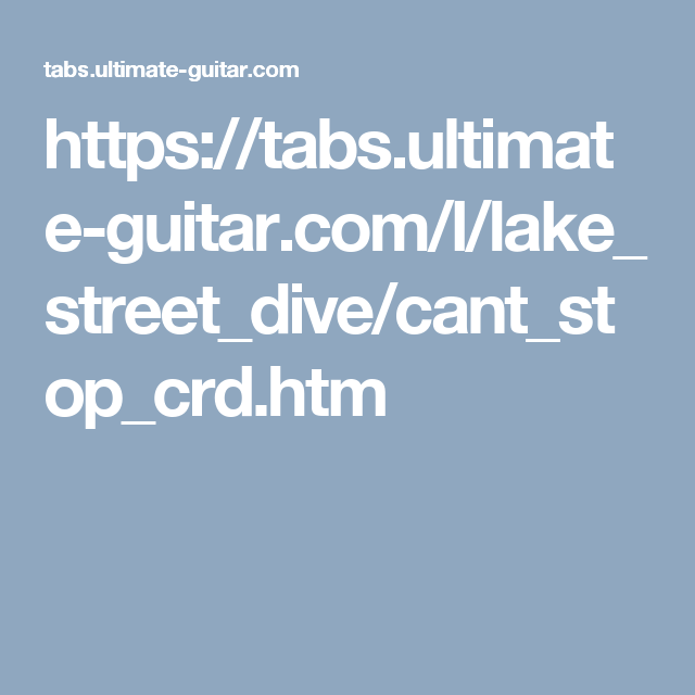 Cant Stop By Lake Street Dive Chords Project Music Diary Pinterest