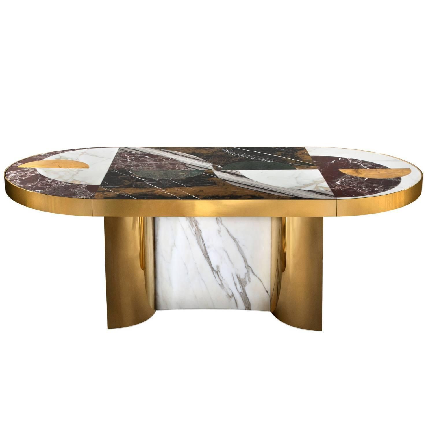 Half Moon Dining Table Marble And Brass By Lara Bohinc In Stock