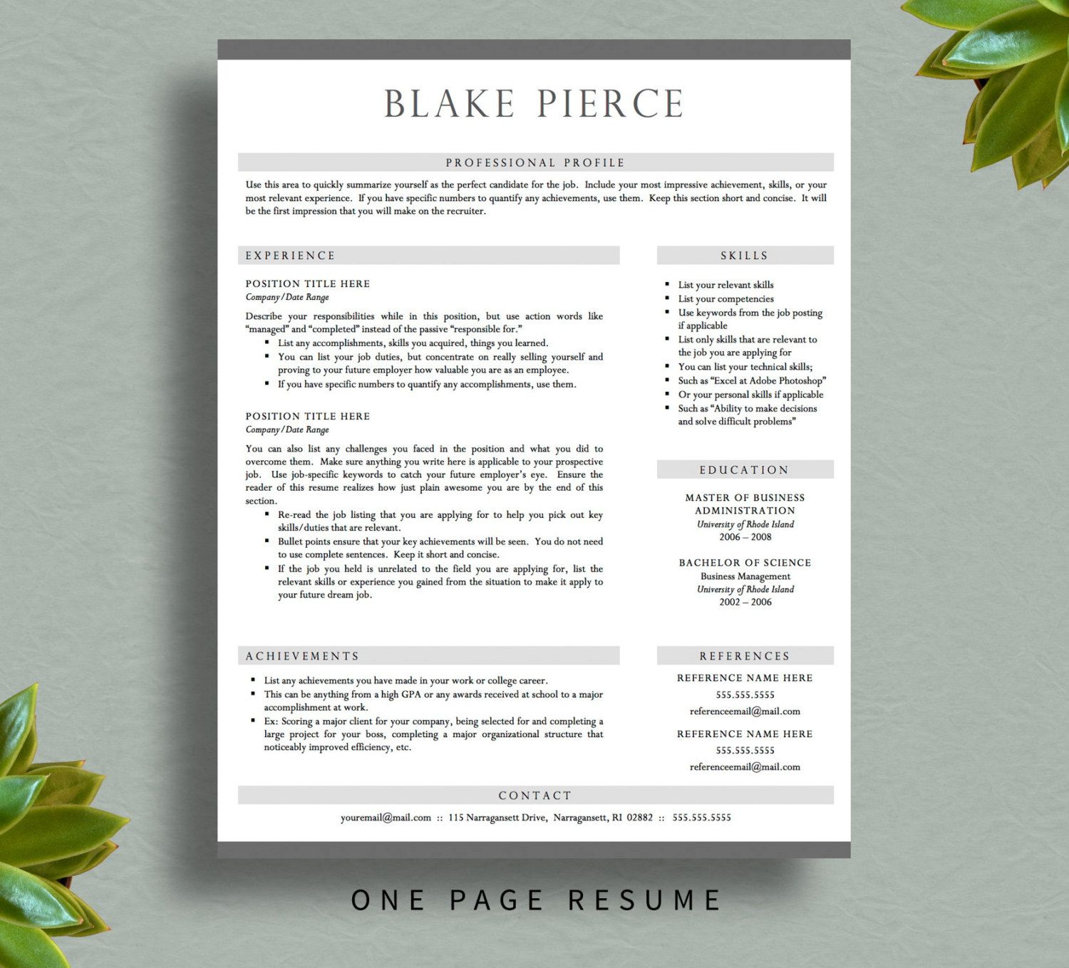 professional resume template for word  u0026 pages  resume