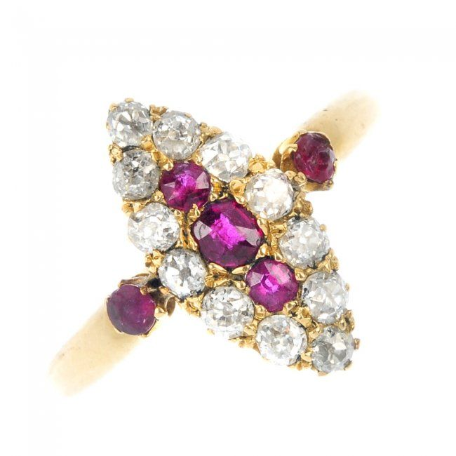 A late 19th century 18ct gold diamond and ruby ring.