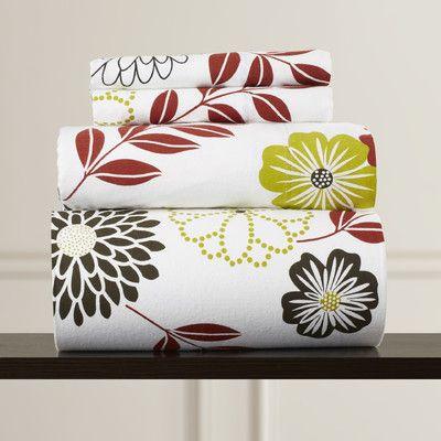 Charlton Home Doody Floral Printed Extra Deep Pocket Flannel Sheet Set Sheet Sets Floral Floral Prints