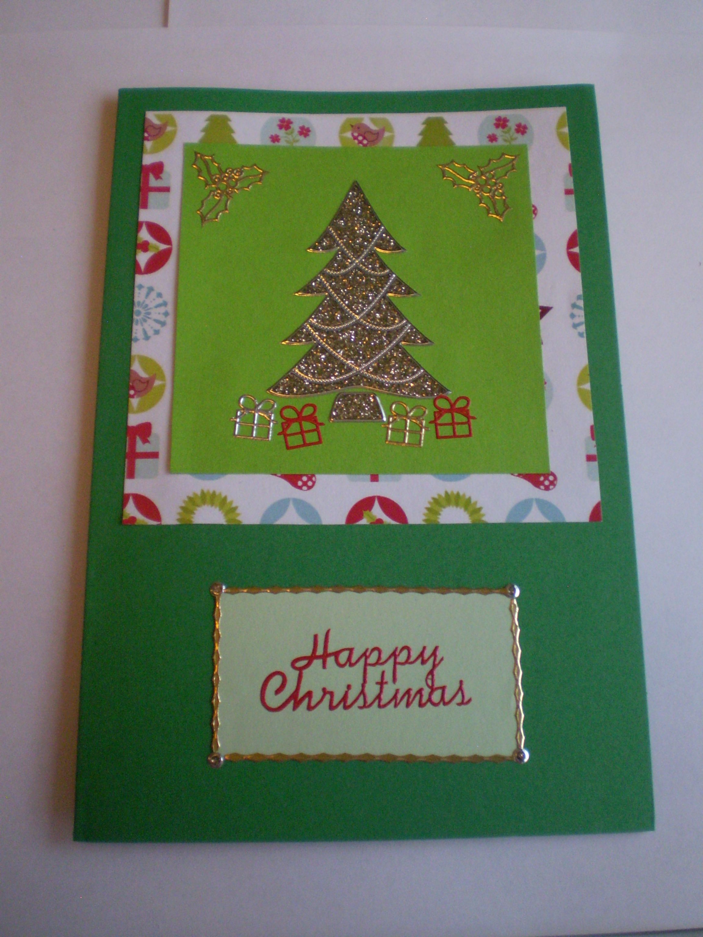 DIY Christmas Card Designs - Green layered card with gold tree ...