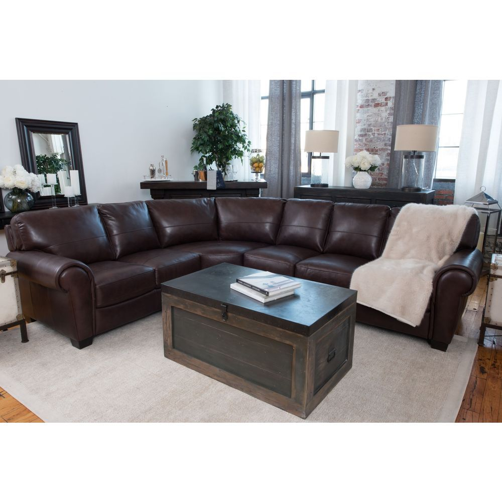 Lodge Coco Top Grain Leather Large Sectional Sofa   19615691   Overstock    Big Discounts On Elements Fine Home Furnishings Sectional Sofas   Mobile
