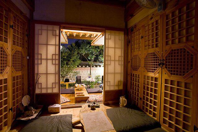 Hanok, a korean traditional house. I want bigger rooms and dark wood.