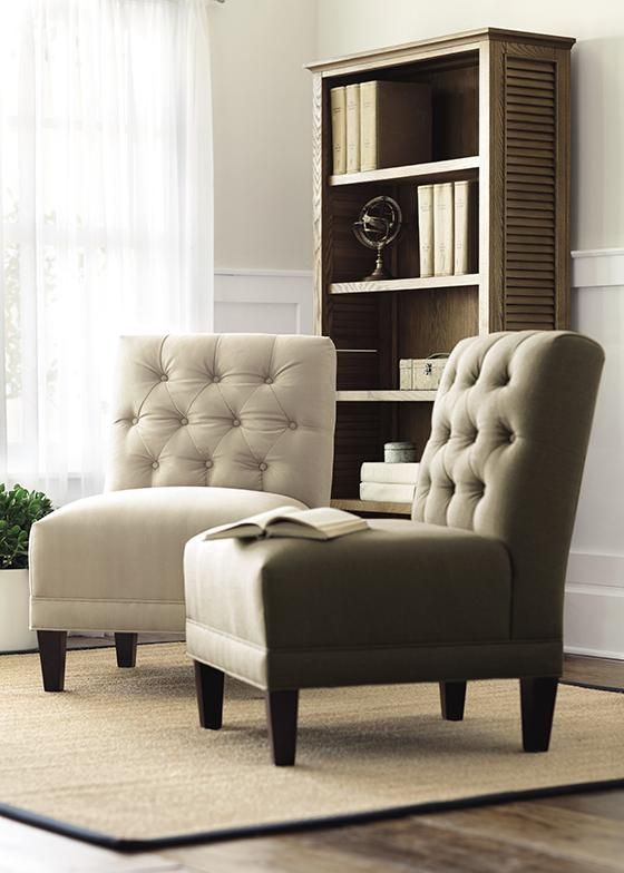 A Button Tufted Armless Chair Is The Perfect Accent In A Sitting Area The Neutral Upholstery Coord Living Room Bench Arm Chairs Living Room Simple Living Room