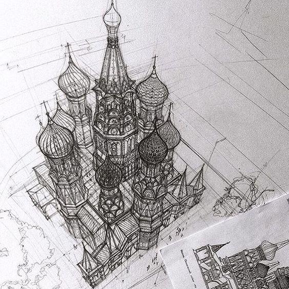 Zeichnen Basilius Kathedrale Ehrfurchtige Kunst Architektur Skizze Zeichenkunst Kunstzeichnungen Skizzierung Bleistiftzeichnung Inspiration