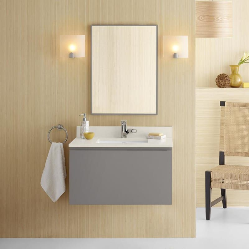 Ronbow 017831 Ariella 31 Hardwood Wall Mounted Vanity Cabinet Only With Drawer Slate Gray Fixture Single