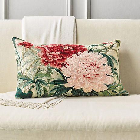 Peony Needlepoint Rectangle Pillow