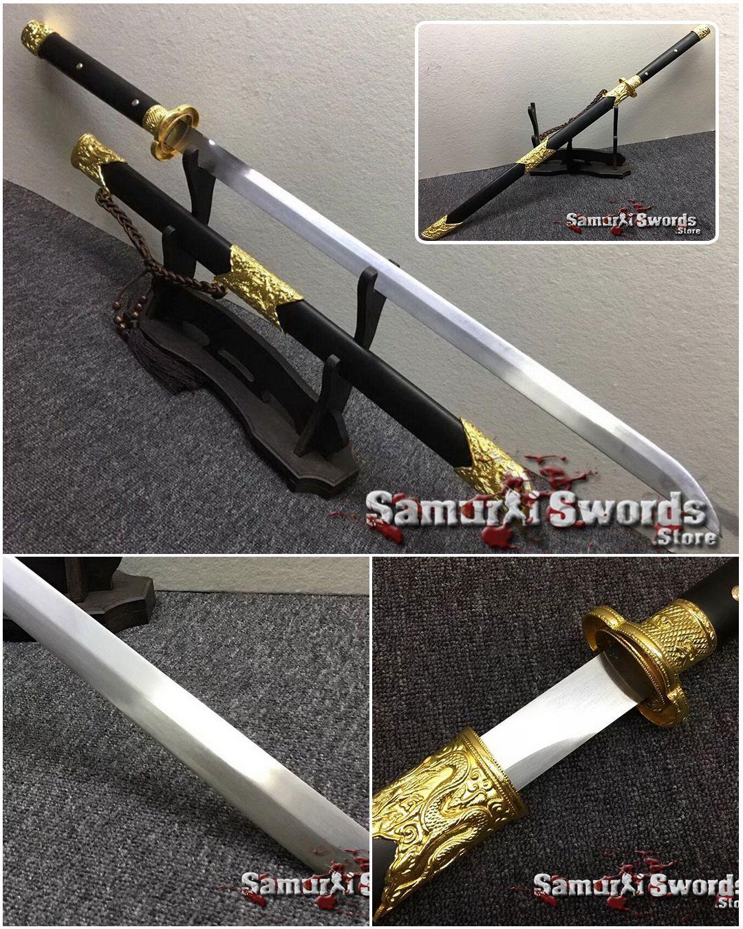 Chinese Jian Sword 9260 Spring Steel Ebony Wood Scabbard Spring Steel Sword Ebony Wood