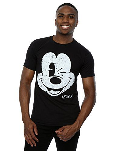 Disney Women/'s Mickey Mouse Distressed Face Washed T-Shirt
