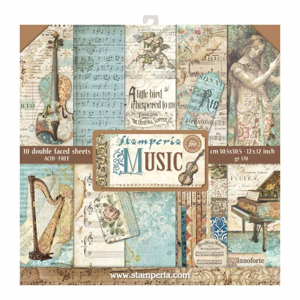 Stamperia 12x12 Paper Pad Music 10 Double Sided Sheets For Scrapbooks Cards Crafting Patchwork Cards Paper Pads Music Paper