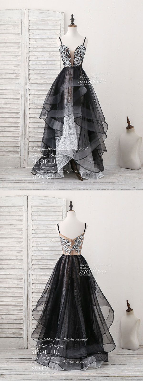 Black sweetheart neck tulle lace long prom dress black evening