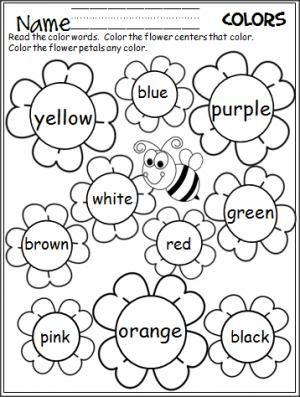graphic about Color Words Printable referred to as Flower Shade Phrases Worksheet Spring suggestions Kindergarten