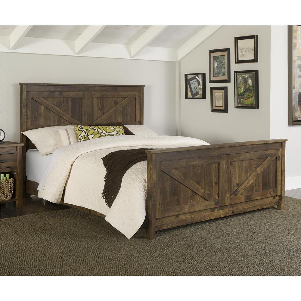 Altra Furniture Farmington Queen Size Bed Frame in Century Barn Pine ...