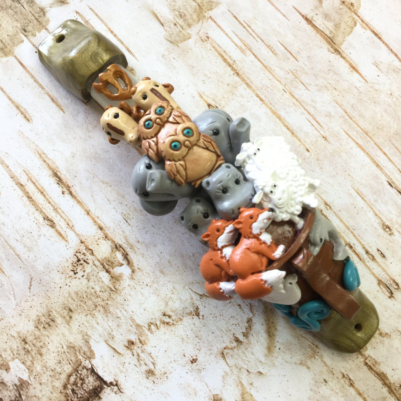 Giraffe /& Elephant mezuzah made of Polymer clay animals judaica for nursery